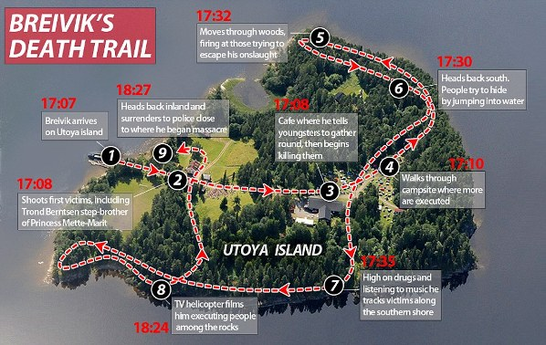 Trail of carnage: Breivik criss-crossed Ut�ya island during his rampage, before he surrendered to police